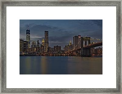 One World Trade Center And The Brooklyn Bridge Framed Print by Susan Candelario
