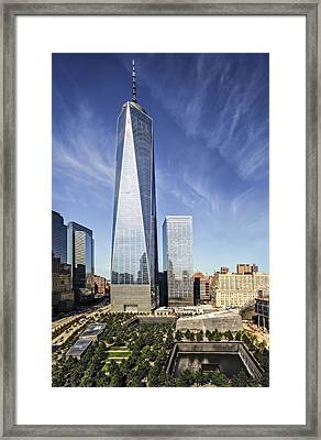 One World Trade Center Reflecting Pools Framed Print by Susan Candelario