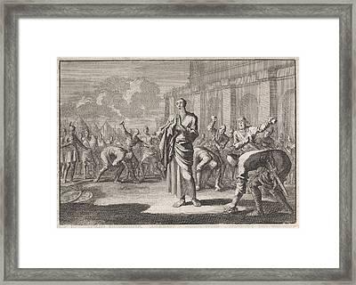 Onias Stoned By Jews, Jan Luyken, Pieter Mortier Framed Print by Jan Luyken And Pieter Mortier