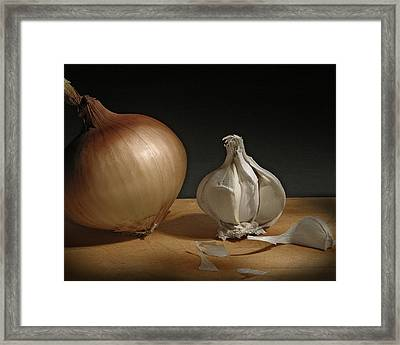 Framed Print featuring the photograph Onion And Garlic by Krasimir Tolev