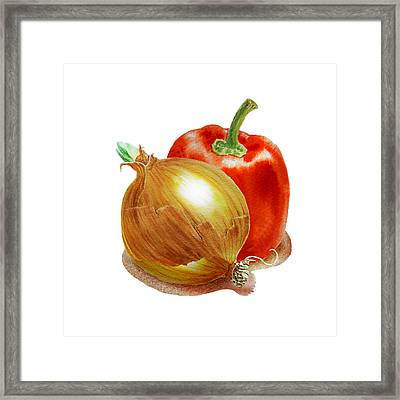 Onion And Red Pepper Framed Print by Irina Sztukowski