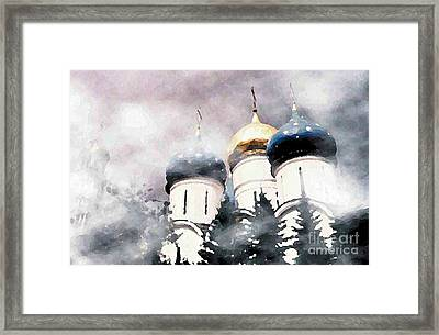 Onion Domes In The Mist Framed Print by Sarah Loft