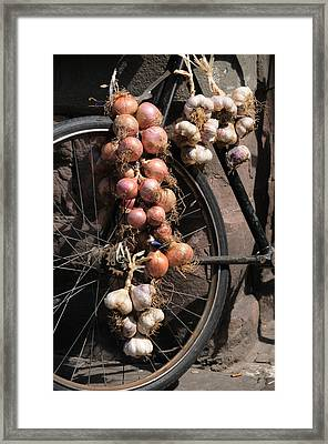 Onions And Garlic On Bike  Framed Print by Jeremy Voisey