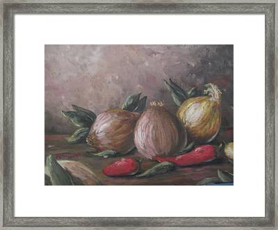 Framed Print featuring the painting Onions And Peppers by Megan Walsh