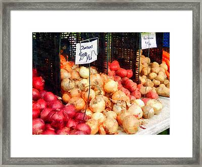 Onions And Potatoes Framed Print by Susan Savad