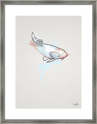 oneline Fish Koi Framed Print by Quibe