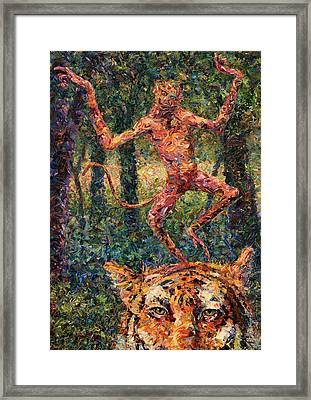 Only A Crazy Monkey Dances On A Tiger's Head Framed Print by James W Johnson