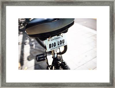 Ontario Bicycle Plate Framed Print by Tanya Harrison