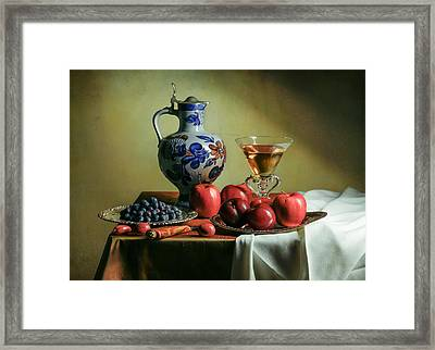 Ontbijtje With Blue Tankard-red Apples And Venetian Glass Framed Print