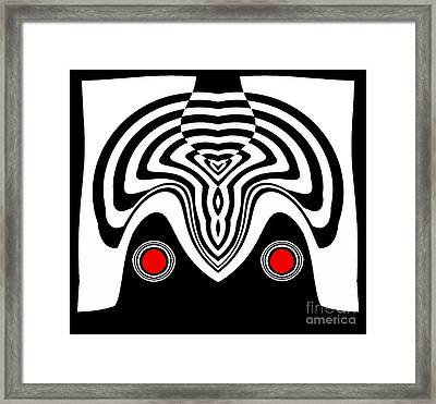 Op Art Black White Red Minimalist Art No.233. Framed Print by Drinka Mercep