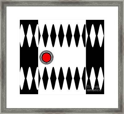 Op Art Black White Red Minimalist Geometric Abstract Print No.277 Framed Print by Drinka Mercep