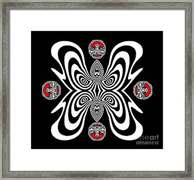 Op Art Geometric Abstract Black White Red Ornament No.126. Framed Print