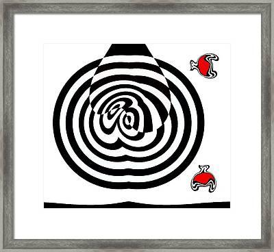 Op Art Geometric Black White Red Abstract No.202. Framed Print by Drinka Mercep