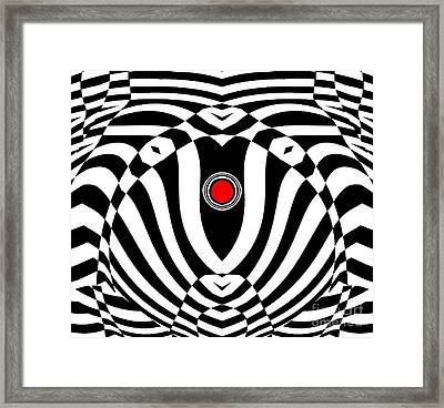 Op Art Geometric Black White Red  Abstract No.383. Framed Print by Drinka Mercep