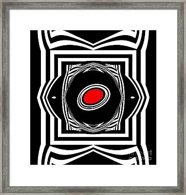 Op Art Geometric Black White Red Abstract Print No.33. Framed Print by Drinka Mercep