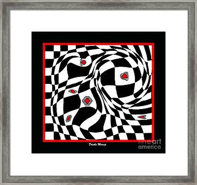 Op Art Geometric Black White Red Abstract Print No.70. Framed Print