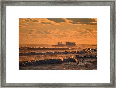 Opal Beach Sunset Colors With Huge Waves Framed Print by Jeff at JSJ Photography