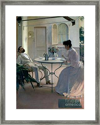 Open Air Interior Barcelona Framed Print by Ramon Casas i Carbo