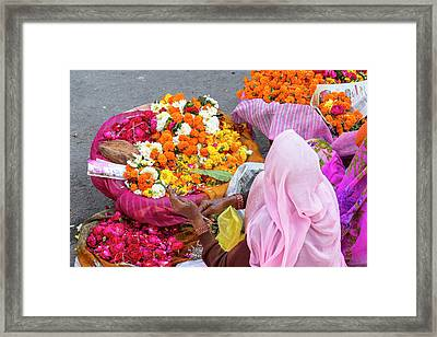 Open Air Market Udaipur Rajasthan India Framed Print