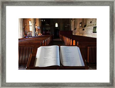 Open Bible At The Front Of A Church Framed Print by John Short