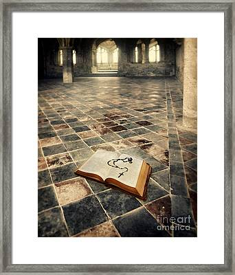 Open Book And Roasary On The Floor Framed Print by Jill Battaglia