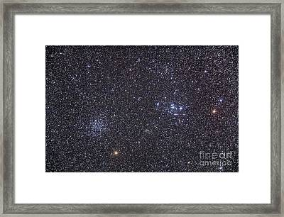 Open Clusters Messier 47 And Messier 47 Framed Print by Alan Dyer