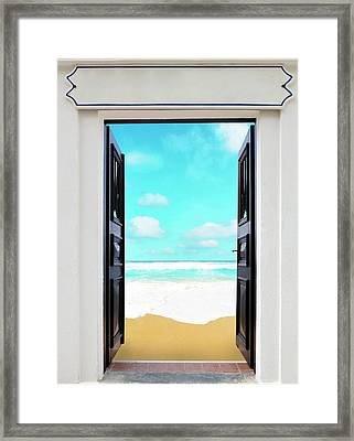 Open Door And Seascape Framed Print by Wladimir Bulgar