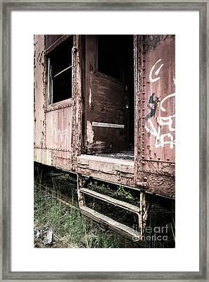 Open Door Of An Abandoned Train Car Framed Print by Edward Fielding