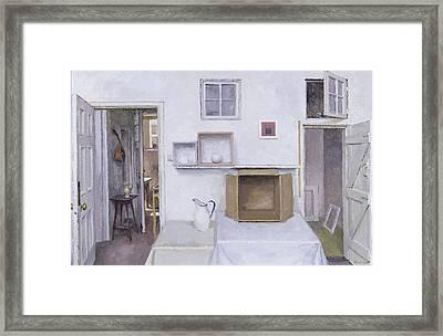 Open Doors - Framed Objects - Albers, 2004 Oil On Canvas Framed Print by Charles E. Hardaker