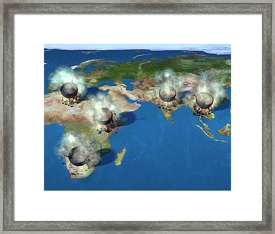 Open Fires For Cooking Framed Print by Animated Healthcare Ltd