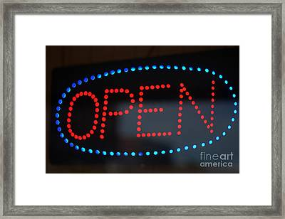 Open Sign In Neon Framed Print by Connie Fox
