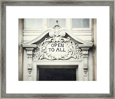 Open To All Framed Print