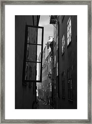 Open Window And Graffitis - Monochrome Framed Print by Ulrich Kunst And Bettina Scheidulin