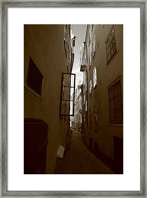 Open Window In Gamla Stan In Stockholm Framed Print by Ulrich Kunst And Bettina Scheidulin