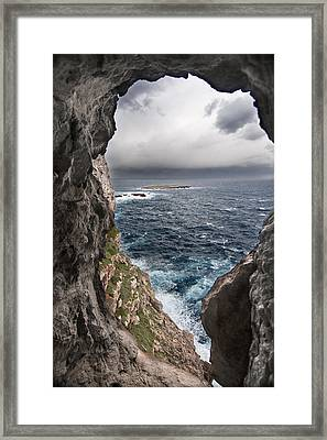 A Natural Window In Minorca North Coast Discover Us An Impressive View Of Sea And Sky - Open Window Framed Print