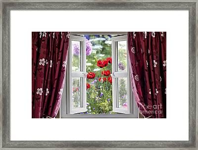Open Window View Onto Wild Flower Garden Framed Print