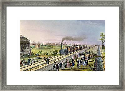 Opening Of The First Railway Line From Tsarskoe Selo To Pavlovsk In 1837 Framed Print by Russian School