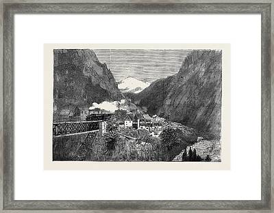 Opening Of The Gothard Tunnel Arrival Of The First Train Framed Print by English School