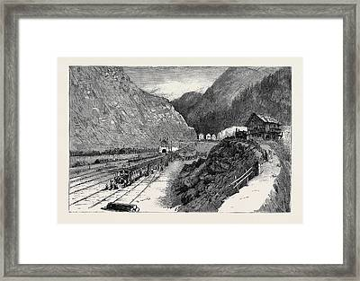 Opening Of The Gothard Tunnel Entrance To The Great Tunnel Framed Print by English School