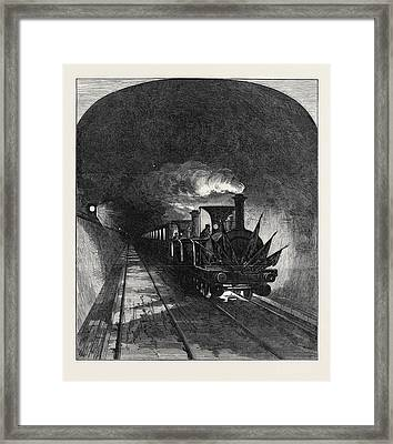 Opening Of The Mont Cenis Tunnel The First Train 1871 Framed Print by English School