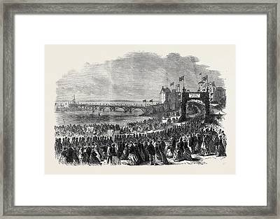 Opening Of The Pier At Clevedon Somersetshire Uk 1869 Framed Print by English School