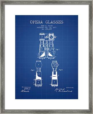 Opera Glasses Patent From 1877 - Blueprint Framed Print by Aged Pixel
