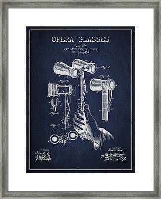 Opera Glasses Patent From 1888 - Navy Blue Framed Print by Aged Pixel