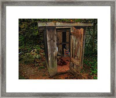 Operational Old Outhouse Framed Print