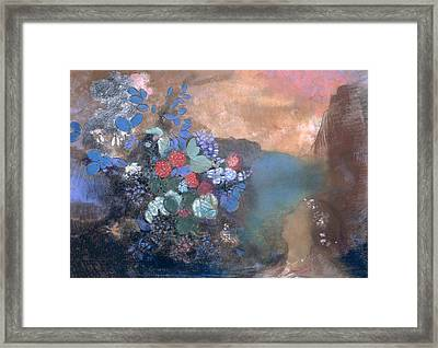 Ophelia Among The Flowers Framed Print by Odilon Redon