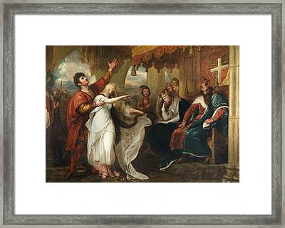 Ophelia And Laertes, 1892 Oil On Canvas Framed Print by Benjamin West