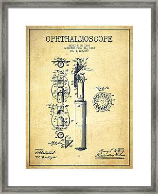 Ophthalmoscope Patent From 1915 - Vintage Framed Print