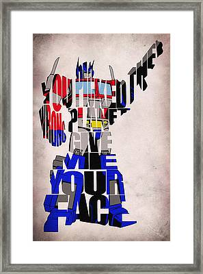 Optimus Prime Framed Print by Ayse Deniz