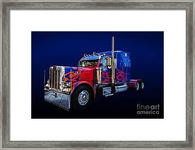 Optimus Prime Blue Framed Print by Steve Purnell