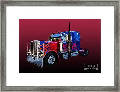 Optimus Prime Red Framed Print by Steve Purnell
